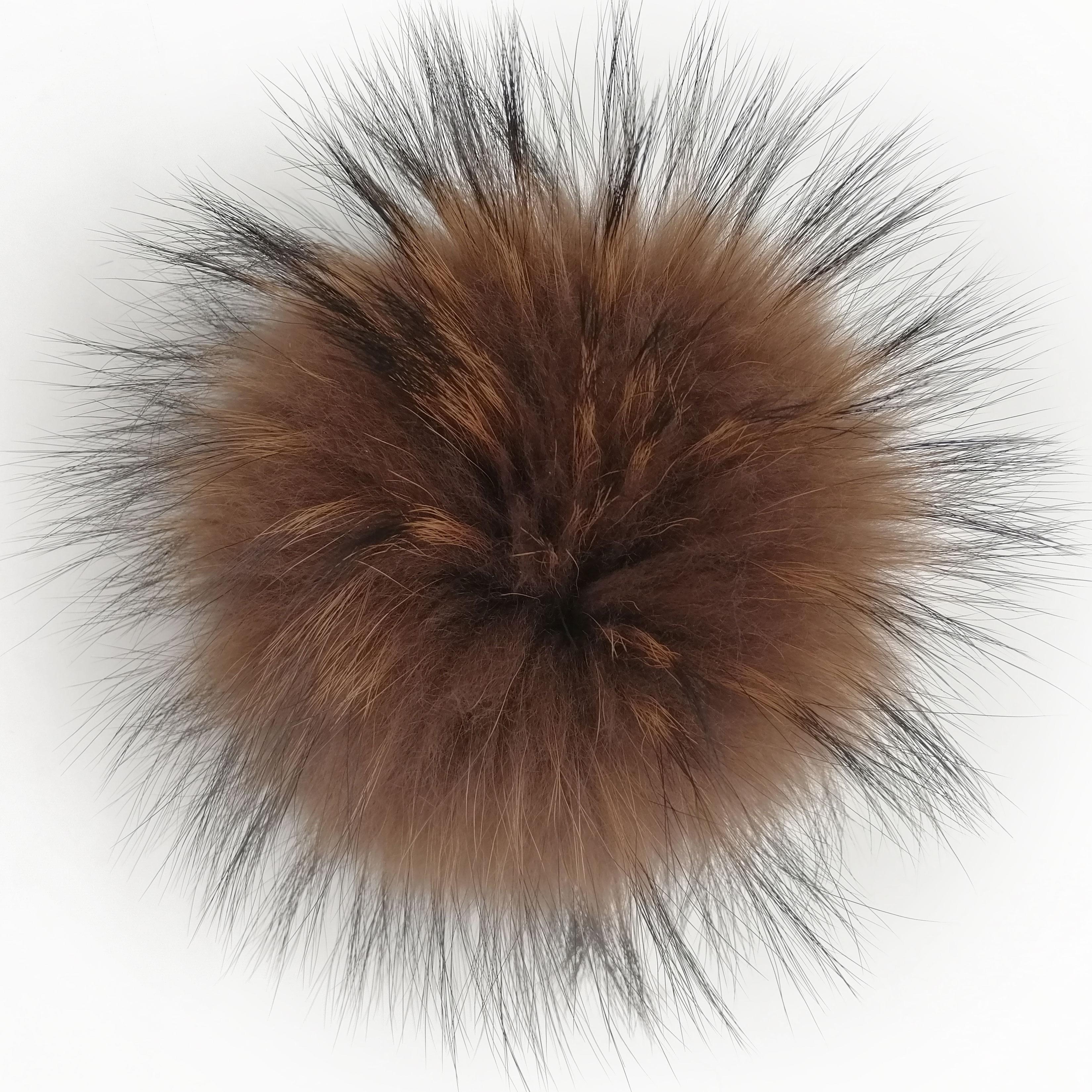 Raccoon Fur Pom Pom Real Fur Pompom for Hats Large Pon Pon