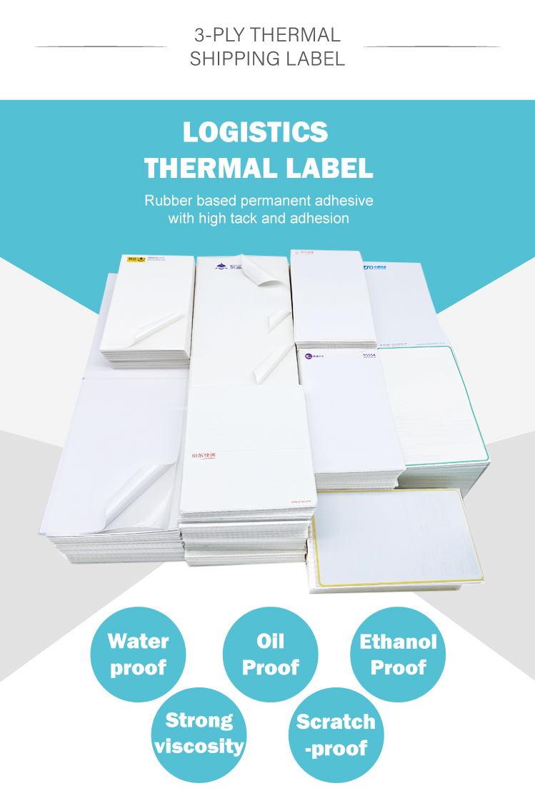 150-100-500  3 layer Best-selliing Custom thermal Sticker Express Blank Packaging shipping Printer sticker labels