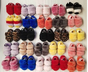 wholesale winter kids fur house shoes slippers fluffy children's cozy wool slippers custom