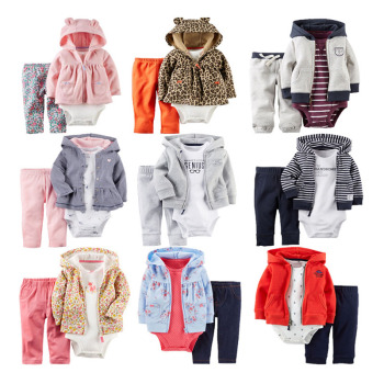 Infant Baby Clothes Wholesale Coat Long Sleeve Promotion Boutique Breathable Cotton Top Kids Children Toddler Newborn Set 3PCS