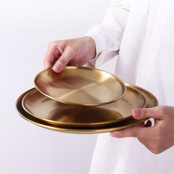 European Style Gold Dining Plate Serving Dishes Round Plate Cake Tray Western Steak Round Tray Kitchen Plates