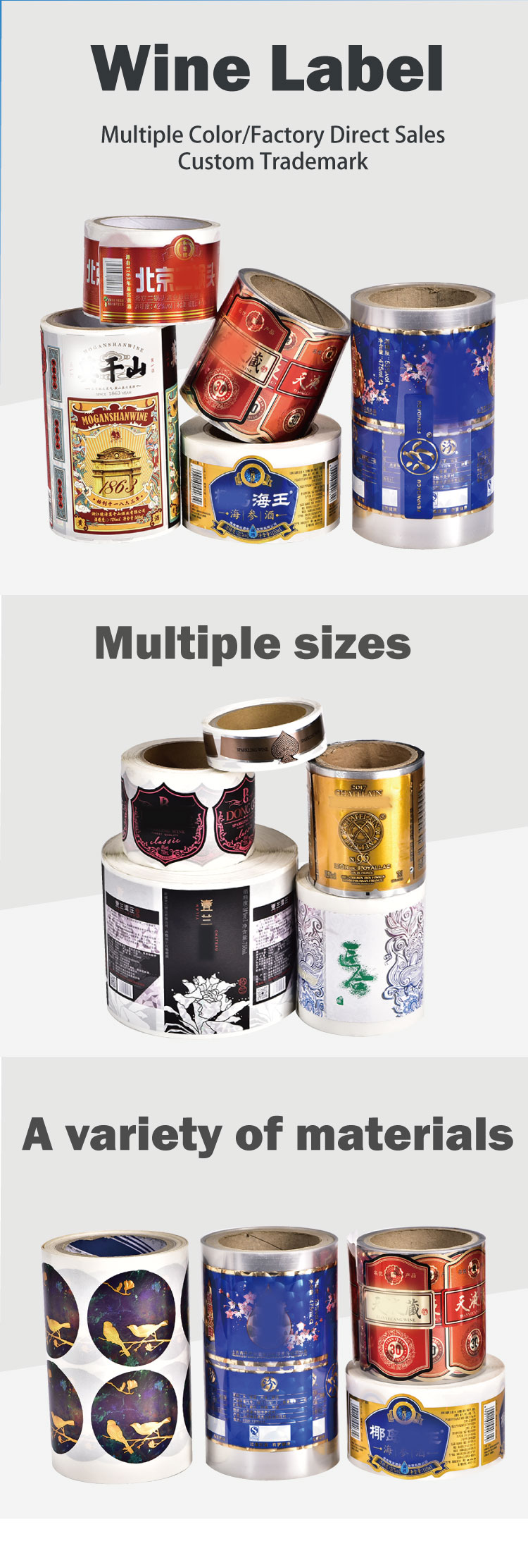 Custom Adhesive Private Luxurious Paper Red Wine Bottle Sticker Hot stamping Printing Labels