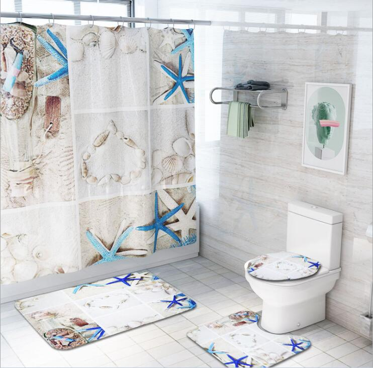 Bathroom Decoration Shower Curtain Bath Mat Rug Toilet Seat Lid Cover Waterproof