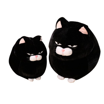 2020 Hot Sale New Design Custom Plush Toys Stuffed Animals Serious Face Black Cat Pillow For Children Toys