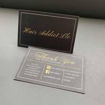 hot Laser cut custom white black printing small business thank you card