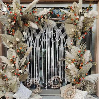 DIY Boho Bohemian Wedding Themes Floral Backdrop Dry Preserved Pampas Grass Flower Decor Big Large Fluffy Dried Pampas Grass