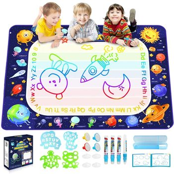 Funny DIY Educational Toys Glowing Magic Painting Large Aqua Water Drawing Doodle Mat For Kids