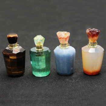 LS-A067 trendy perfume bottle pendant fluorite pendant,citrine, blue lace agate,tiger eyes charm pendant gemstone hot selling