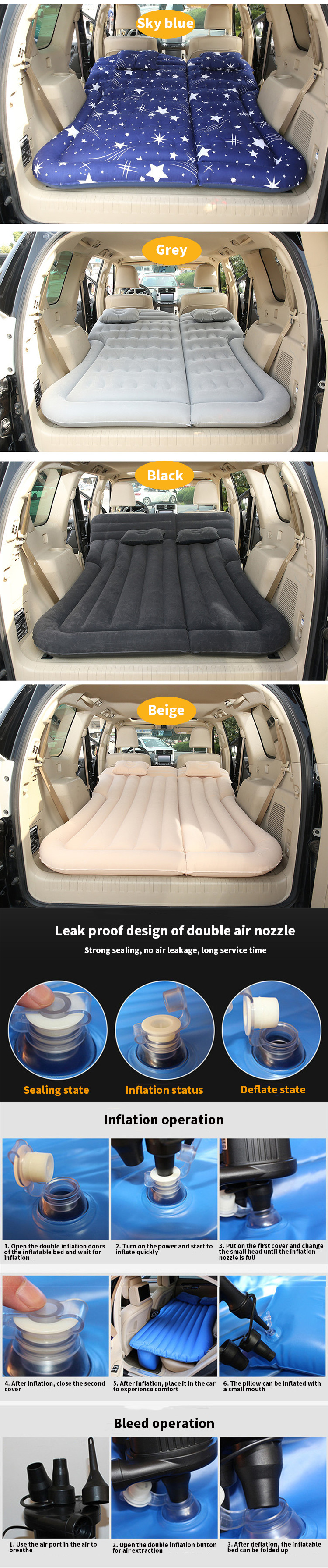 Professional Auto Car Vehicle SUV Vehicle Travel Portable Emergency Inflatable Sofa Air Cushion Bed