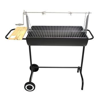 Camping grill Rotary bbq grill Barbecue Trolley half Oil drum BBQ Charcoal grill skewer with side table