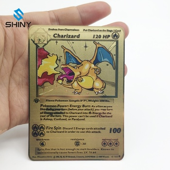 Customized gold full color printing metal charizard 100/120 pokemon game cards