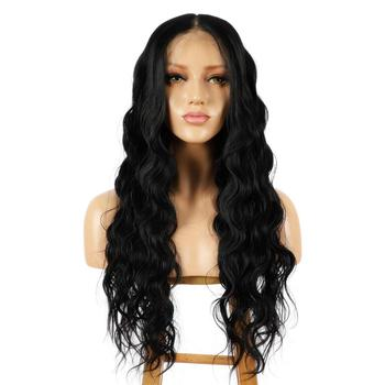 13x6 Lace Front Black Wig, 22 Long Natural Wavy Synthetic Wig for Women, Pre Plucked with Natural Hairline and Baby Hair