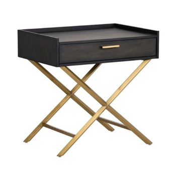 Cheap Price Bedroom Furniture Best Modern Black Slim Narrow Simple Wooden Small Nightstand Bedside Tables With Storage Drawer