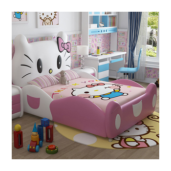 Hello kitty children's bed princess design furniture leather kids bed for bedroom CB09