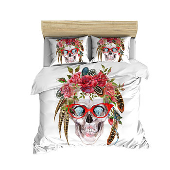 Digital printed skull pattern can be customized quilt cover bed sheet pillow cover four-piece cover