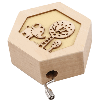 Classic hexagon shape handmade engraved with lovely animal pattern wholesale factory wood music box baby