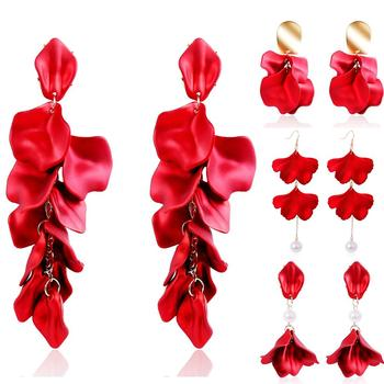 Large Statement Red Resin Maple Leaf Floral Petal Dangle Earrings Long Acrylic Rose Flower Earrings for Bridal Wedding Pageant