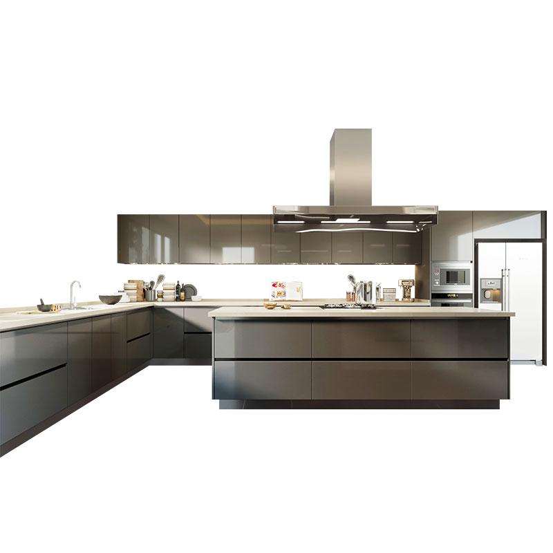 Oppein Kitchen Cupboards Gloss Grey 2 Pack Modern Kitchen