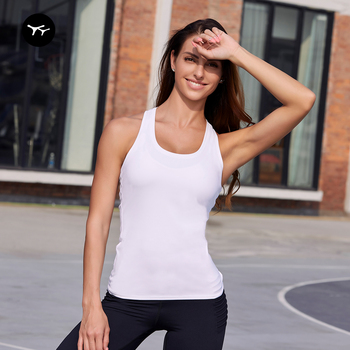 Breathable Spandex Fitness Basic Crop Gym Yoga Workout White Active Wear Cropped Women's Tank Tops Ladiessleeveless T-shirt