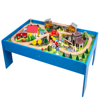 New style hot sale 108 pcs forest style wooden train track set beech wood train track with table can fit for thomas train