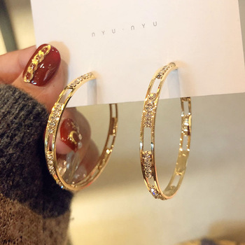 S925 Sterling Silver Needle Gold plated Hoop Earrings Hollow out Rhinestone Crystal Circle Round Hoop Earrings Women Earrings