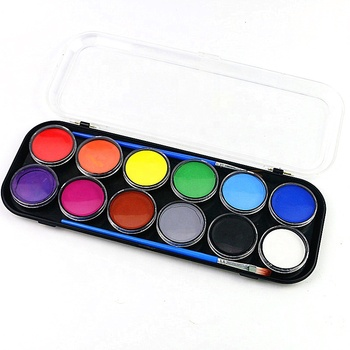 Private Label 12 Colors Face Painting Kit for Kids with Stencil Body Painting Supplies