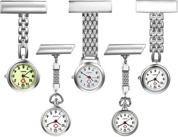 Nurse Watch with Second Hand stainless steel Classic Nurses Doctors Paramedic Tunic Lapel Pin-on Brooch Quartz Fob Watch