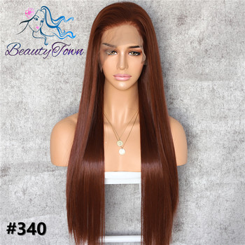 BeautyTown #340 Brown 13x6 Big Lace Free Part Futura Heat Resistant No-Tangle Hair Daily Makeup Layer Synthetic Lace Front Wigs
