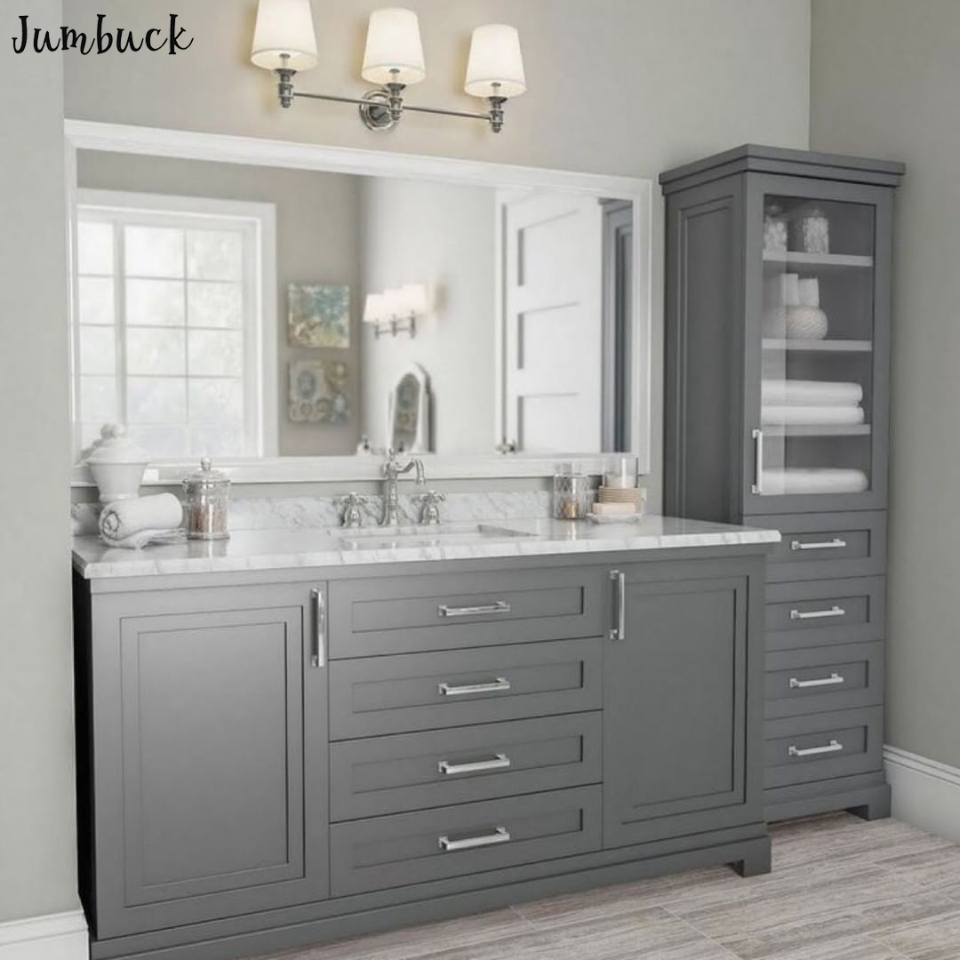 Luxury Grey Elegent Bathroom Vanity With Sink With One Tall Storage Cabinet Buy Bathroom Vanity With Sink Storage Bathroom Cabinet Luxury Bathroom Vanity Product On Alibaba Com
