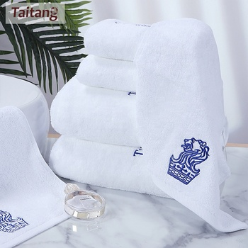 Hotel Towels Set Embroidered Logo White 100 Cotton Face Bath Towel Towels