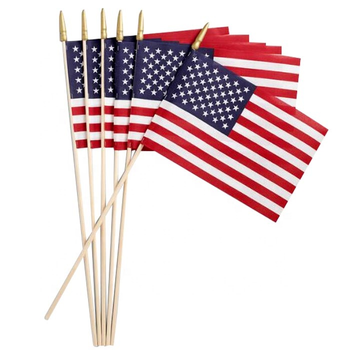 Wooden handle Custom Wholesale Printing Polyester Fabric Mini National Country Wooden Pole Hand Held American Flag