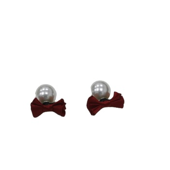 bow tie stud earring with round pearl beads cute lovely girl women jewelry fashion