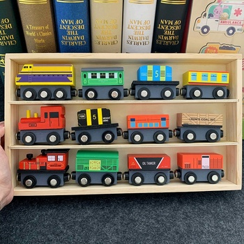 Child 12 Train Track Railway Car Magnetic Combination Diecast Slot Wood Trains Toys Wooden Train Set