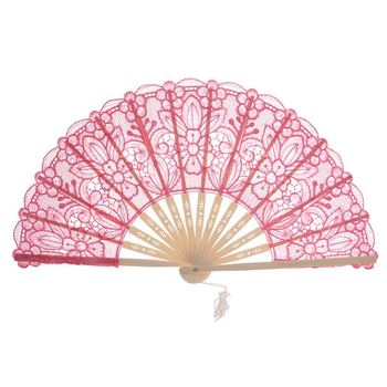 New Design Lace Bamboo Folding Hand Fans Wedding Women Decoration Fans