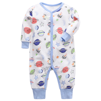 Kids Clothing Baby Clothes Tiny Baby Clothes Pajamas Flat Angle Knitted Long Sleeve Long Pant Romper 100% Cotton Baby Jumpsuit