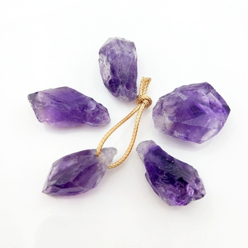 Natural Raw Amethyst Point Pendant Gemstone Buyers Top Drill Geode Crystal jewelry charms Rough Amethyst Purple Crystal