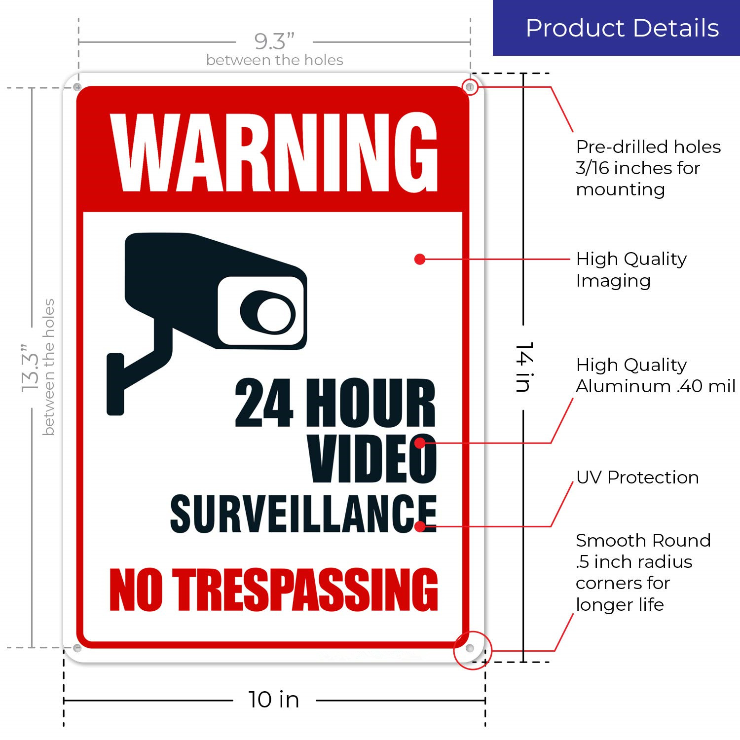 OEM Aluminum Reflective Warning Signs Video Surveillance No Trespassing Sign Metal
