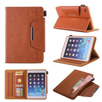 business style tablet leather case for iPad Mini 1 2 3 4 5 7.9 inch universal wallet stand leather phone case