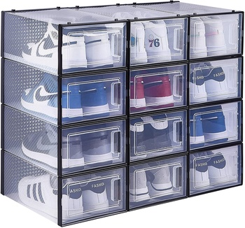 East Loft Clear Plastic Shoe Box 12 PACK Stackable Shoe Box Shoe Container Cubes for Sneaker
