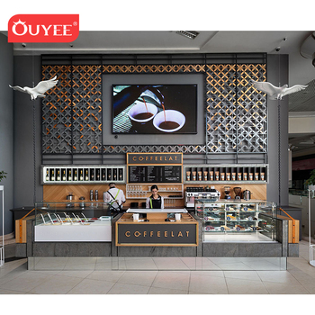 Custom Shopping Mall Airport Coffee Kiosk Wooden Bar Counter Interior Furniture Coffee Shop Design