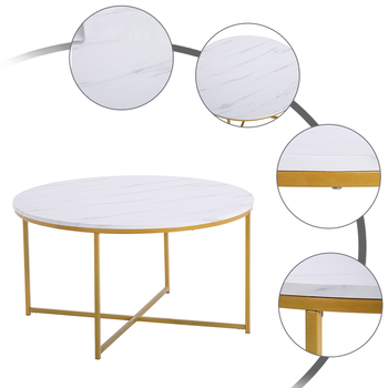 Free Shipping Modern Wooden Tea White Round Coffee Table Design Metal Table Frame Home Goods Furniture