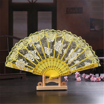 Fabric Silk Folding Hand Held Dance Fans Lace Hand Held Folding Fan