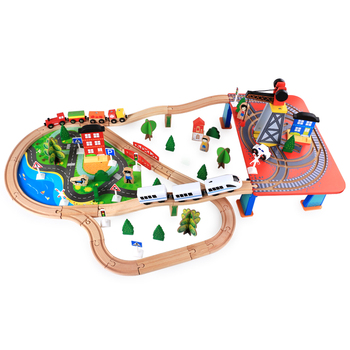 Electric DIY Educational Track Toy Thomas The Train Wooden Railway Set
