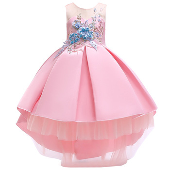 Lolita Kids Dress Princess Flower Frocks Designs Embroidery Long Cut Lace Wedding Birthday Ball Gown Baby Girl Dress Party