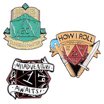 20 Sided Dice D20 DnD Enamel Pins Custom Game Brooch Lapel Pin Shirt Bag Badge Dragon and Dungeon Jewelry Lapel PIns Badges