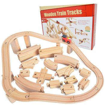 Kids 62 Pieces Wooden Train Track Expansion Set Toy NEW Version Compatible with All Major Brands Including Thomas