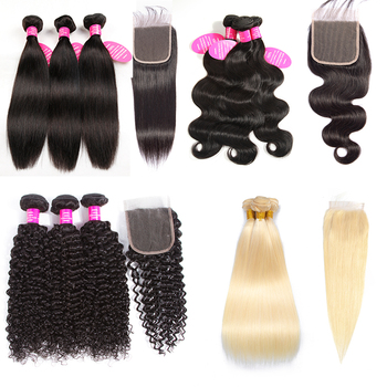 Brazilian Raw Virgin Hair Vendors Free Sample Bundles With Closure 100% Unprocessed Human Hair Extensions Cuticle Aligned Hair