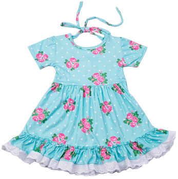 Boutique pattern blue children floral dress fashion new design baby girl lace ruffle casual frock
