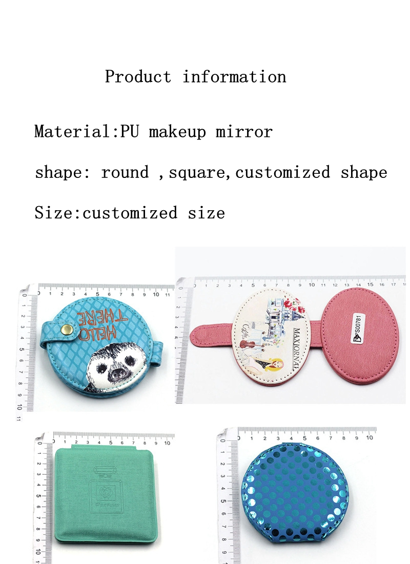 Cheap Personalized Custom Made  Round square customized shape Pu Leather Mini Size Decorative Wooden Souvenir Pocket Mirror