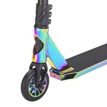 Pro Aluminum Performance Freestyle Kids Kick Scooter Rainbow Neo chrome Stunt Scooter